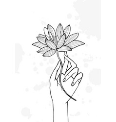 Hand holding lotus flower contour hand drawn vector
