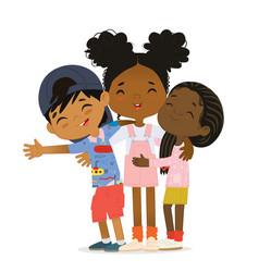 Happy african american multi aged kids hug vector