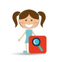 happy girl student school search icon vector image
