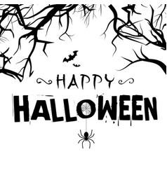 happy halloween spiders tree branch background vec vector image