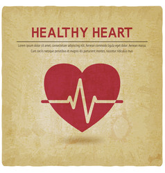 healthy heart cardiogram symbol old background vector image