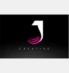J white and pink swoosh letter logo letter design vector