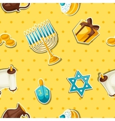 Jewish Hanukkah celebration seamless pattern with vector image
