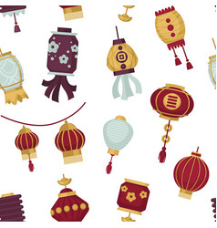 lamps and lanterns in oriental asian style vector image
