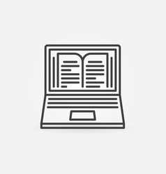 laptop with book on screen outline concept vector image