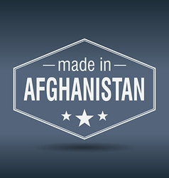 made in Afghanistan hexagonal white vintage label vector image