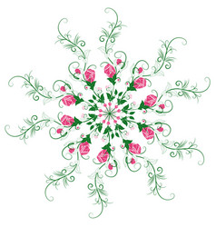 Mandala of branches and flowers of roses vector