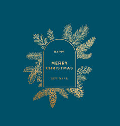 Merry christmas abstract banner card with frame vector