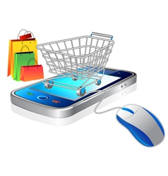 mobile and shopping cart vector image