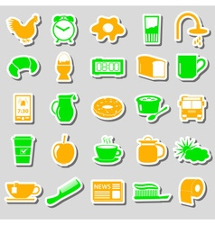 Morning wake up theme color stickers set eps10 vector