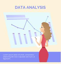 Office worker girl in dress learning data analysis vector