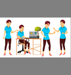 office worker woman modern employee vector image