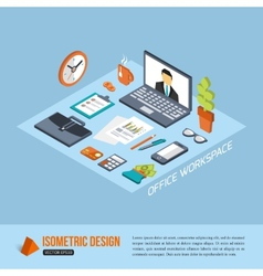 Office workplace Isometric design Business vector image