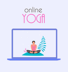 online yoga concept with laptop vector image