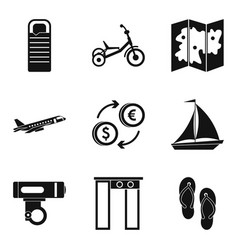 Outing icons set simple style vector