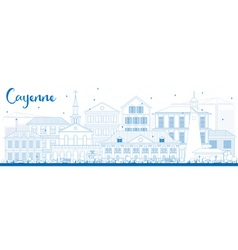 Outline Cayenne Skyline with Blue Buildings vector