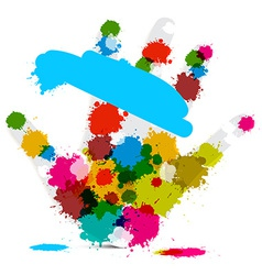 Palm Hand and Colorful Splashes - Stains - Blots vector image