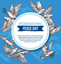 Peace day greeting card with sketch doves in sky vector