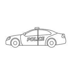 police car icon in outline style isolated on white vector image