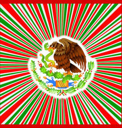Red white and green rays background with mexican vector