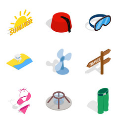 Rest period icons set isometric style vector