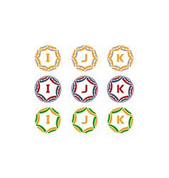 ribbon circle star initial set vector image