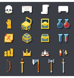 RPG Game Accessories Icons Set Scrolls Treasure vector