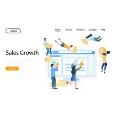 sales growth website landing page design vector image