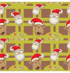 santa deer seamless big redgreen2 vector image
