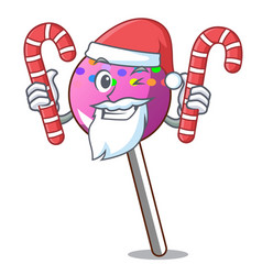 santa with candy lollipop with sprinkles mascot vector image
