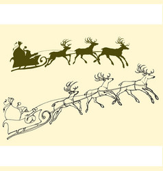 santas sleigh of deers outline and silhouette vector image