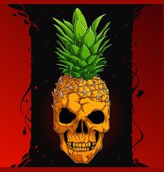 scary pineapple skull half skeleton half pineapple vector image