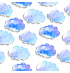 Seamless pattern watercolor clouds with shadows vector image