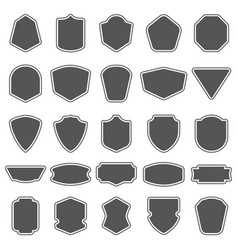 set blank empty dark shields shield badge vector image