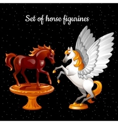 Set of figures flying magical horses vector
