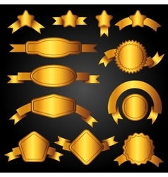 Set of golden banners ribbons and labels vector image