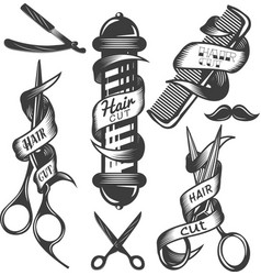 Set of hair salon labels in vintage vector
