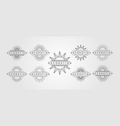 set sun line art symbol minimalist decoration vector image