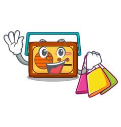 Shopping radio character cartoon style vector