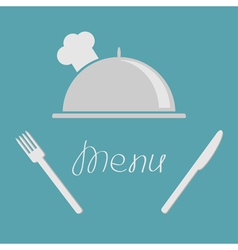 Silver platter cloche fork knife Menu cover flat vector image