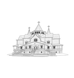 Sketch of estate of ded moroz in velikiy ustyug vector