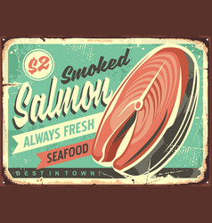 Smoked salmon fish tin sign vector