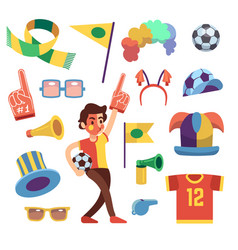 soccer sports funs with tools to cheer team win vector image