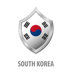 south korea flag on metal shiny shield vector image
