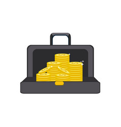 Suitcase with gold coins money inside vector