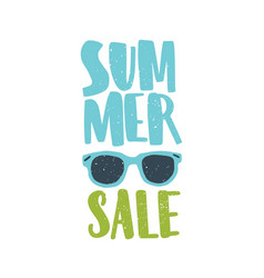 Summer sale lettering decorated sunglasses vector