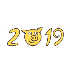 the cute piggy muzzle in numbers of 2019 vector image