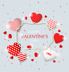 This is valentine s day frame with hearts vector
