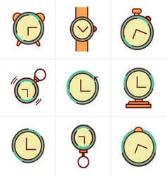 Time Clock Line Icons Set Design vector image