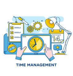 time management concept thin line vector image